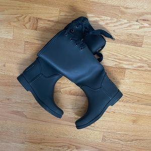 Coach Tristee Matte Black Rubber Rain Boots Size 9
